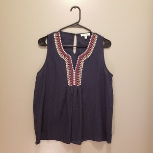 Monteau Los Angeles Sleeveless Embroidered Top L